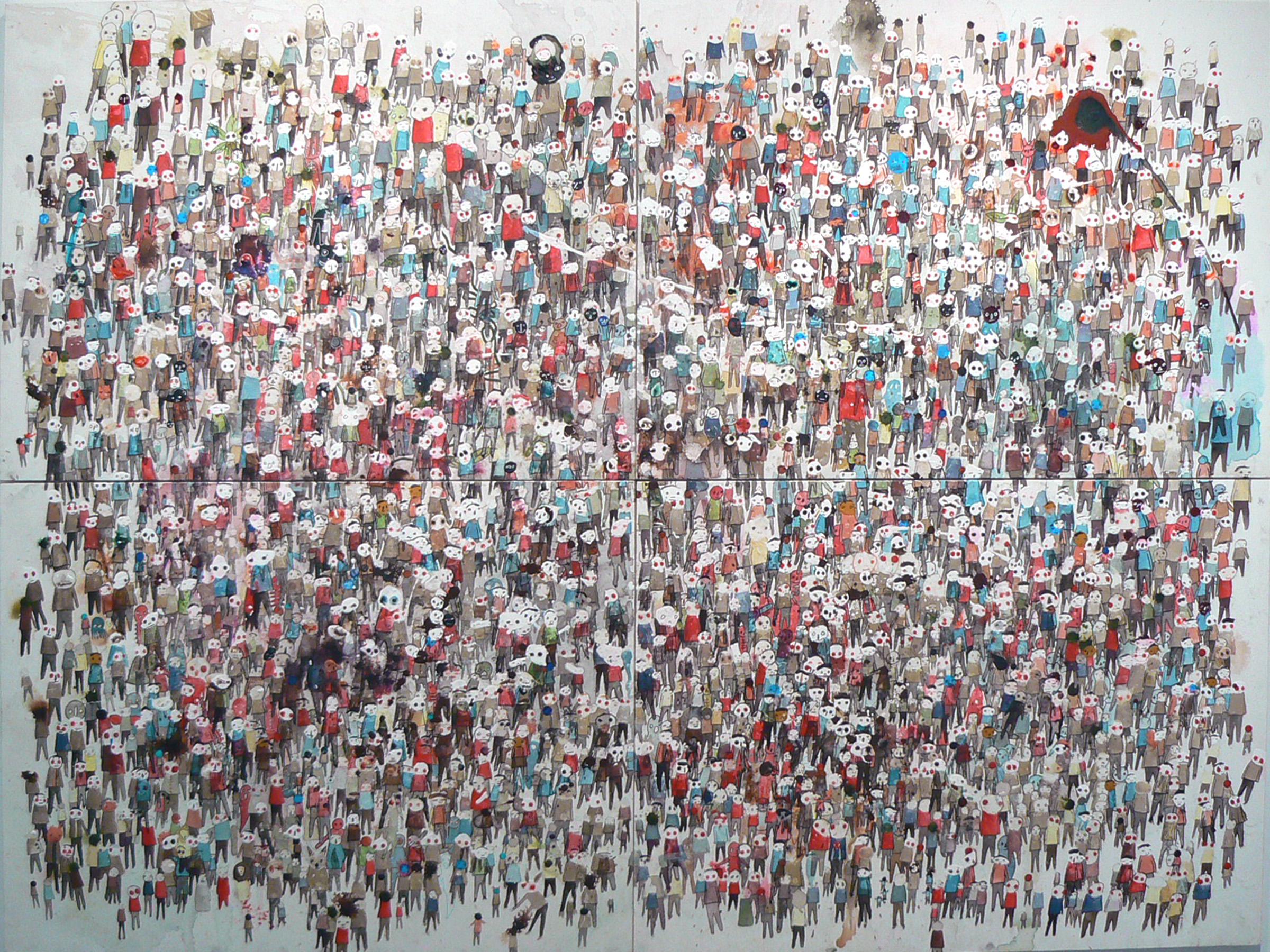 Neil Farber, New Faces , 2010-2011, Mixed media on panels, 60h x 80w in.