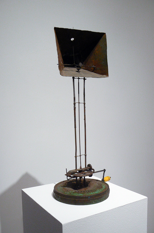 June Leaf, Theater for a Crank Shaft , 2007, Tin, steel, wire, and enamel, 22.75h x 9.75w x 10d in.