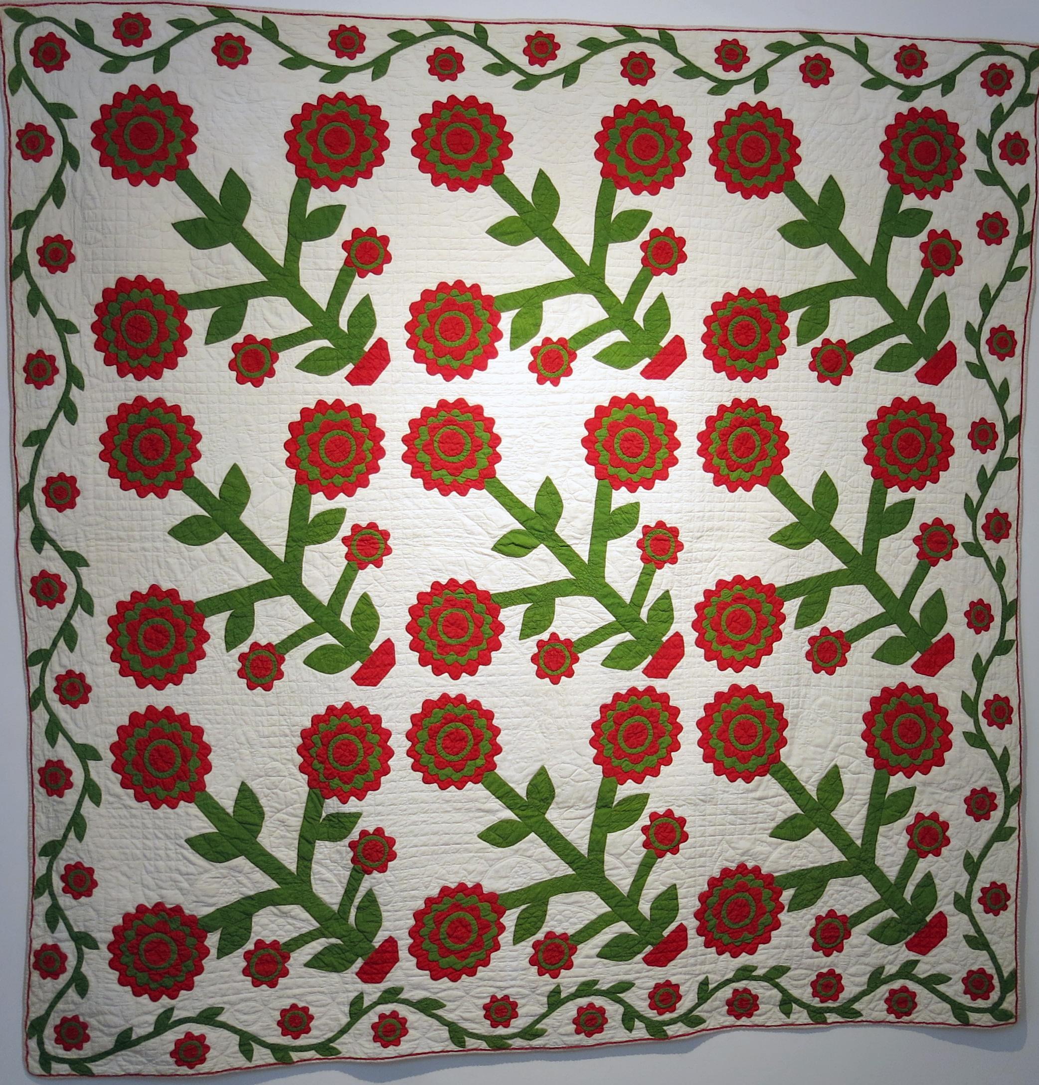 Amish, Lancaster County, Pennsylvania, Triple Blossoms Appliqué Quilt , c. 1870-80s, cotton, 75h x 75w in.
