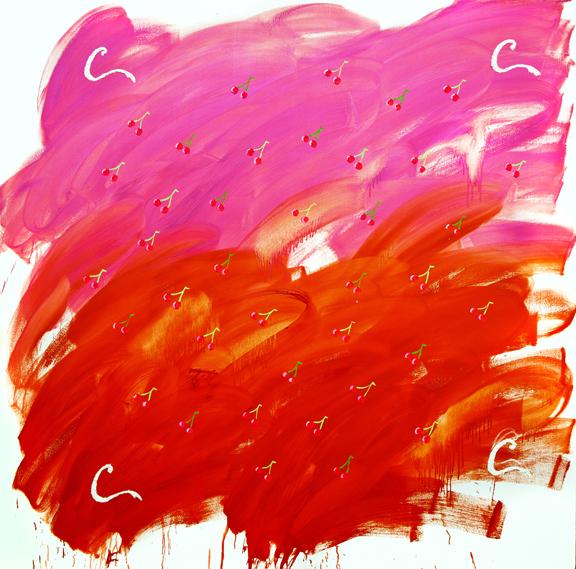 Jason Stopa, Cherry Coke , 2014, oil on canvas, 72h x 72w in.