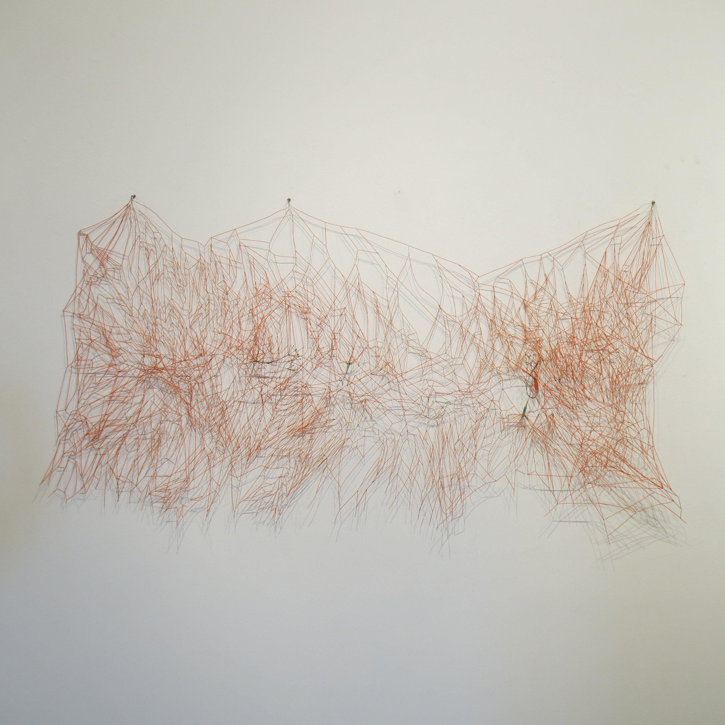 Markus Baenziger,  On the Margin , 2014, wire & brass, 30h x 60w x 4d in.