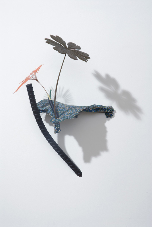 Markus Baenziger,  Day In Day Out , 2012, bronze, copper wire, found objects, paint, 24.25h x 15w x 15.75d in.