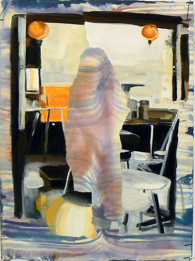 Judith Simonian, 2010, Pink Burka , Acrylic on paper, 15h x 11w in.