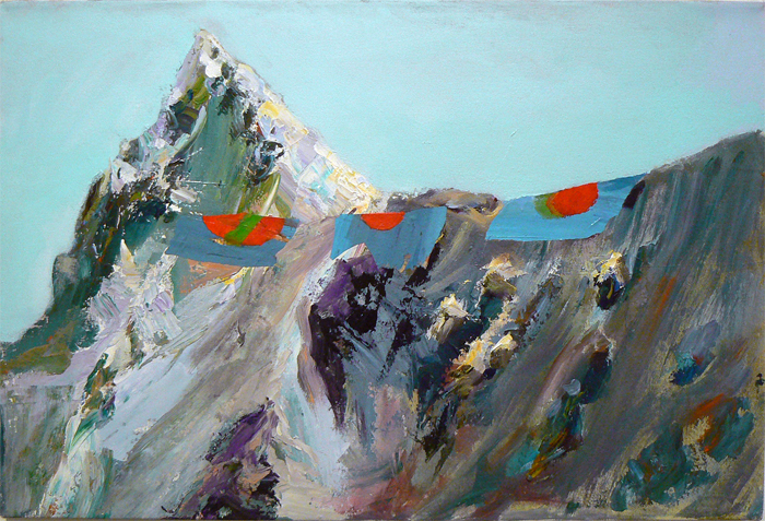 Judith Simonian, 2012, Mountain with Flags , Acrylic on canvas, 20h x 30w in.