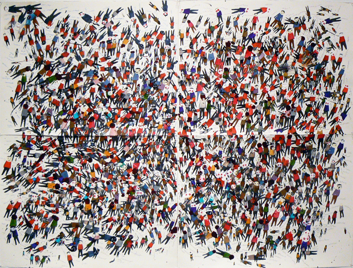 Neil Farber, 2011, Untitled , Acrylic, ink on paper, 44.5h x 60w in