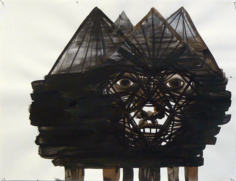 Sarah Gamble, 2012, Face Mansion Series , Ink on paper, 11h x 14w in.