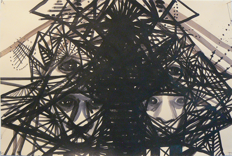 Sarah Gamble, 2012, Face Mansion Series , Ink on paper, 12h x 18w in.