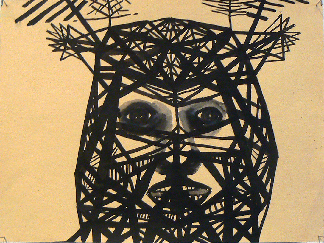 Sarah Gamble, 2012, Face Mansion Series , Ink on paper, 9h x 12w in.