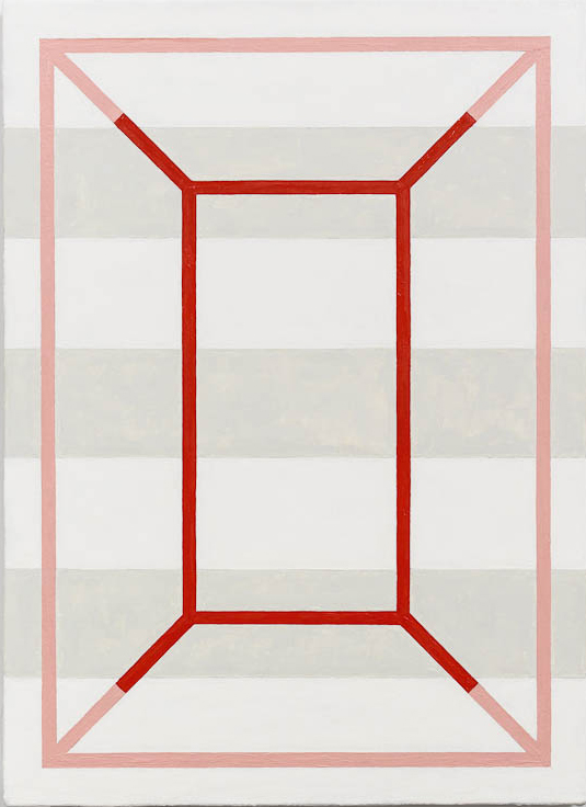 Andrew Spence, 2012,  Red Pink White Gray , Oil on canvas, 22h x 16w in.