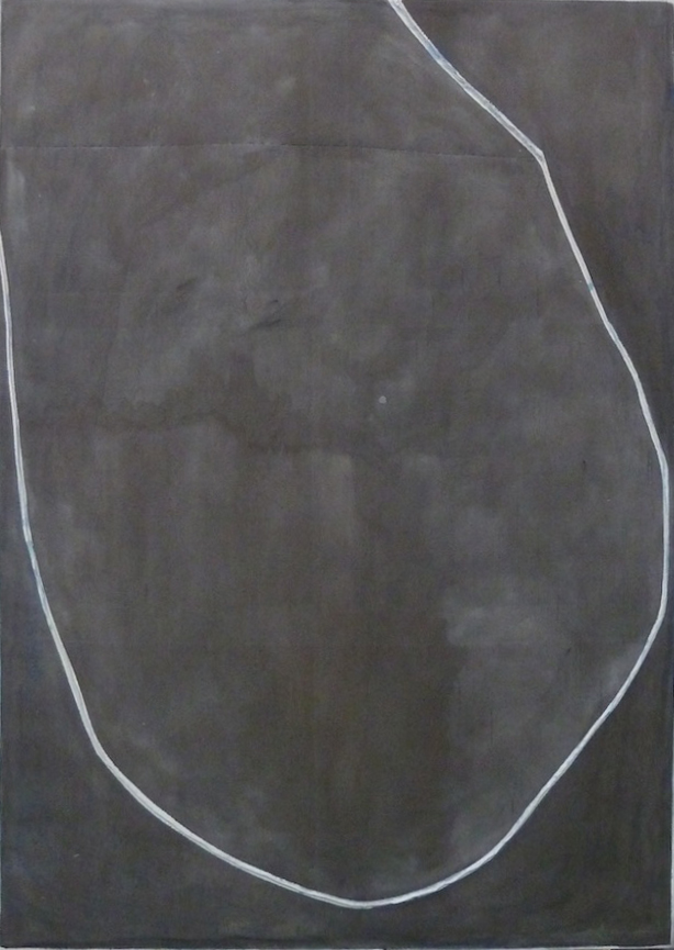 Jim Lee, 2013, Untitled (Freudian Slip) , Oil, acrylic on canvas with staples, 84h x 59.5w in.