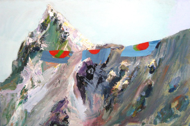Judith Simonian,  Mountain with Flags , 2012, Acrylic, collage on canvas, 20h x 30w in.