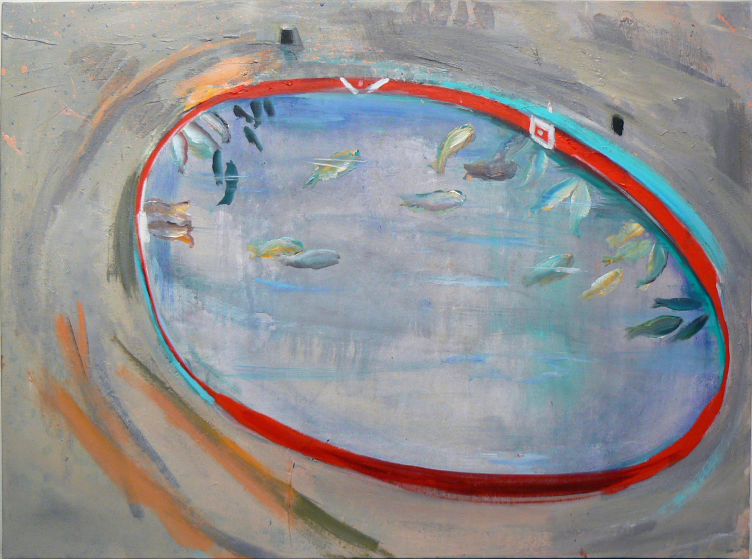 Judith Simonian,  Fishing Arena , 2012, Acrylic on canvas, 27h x 36w in.