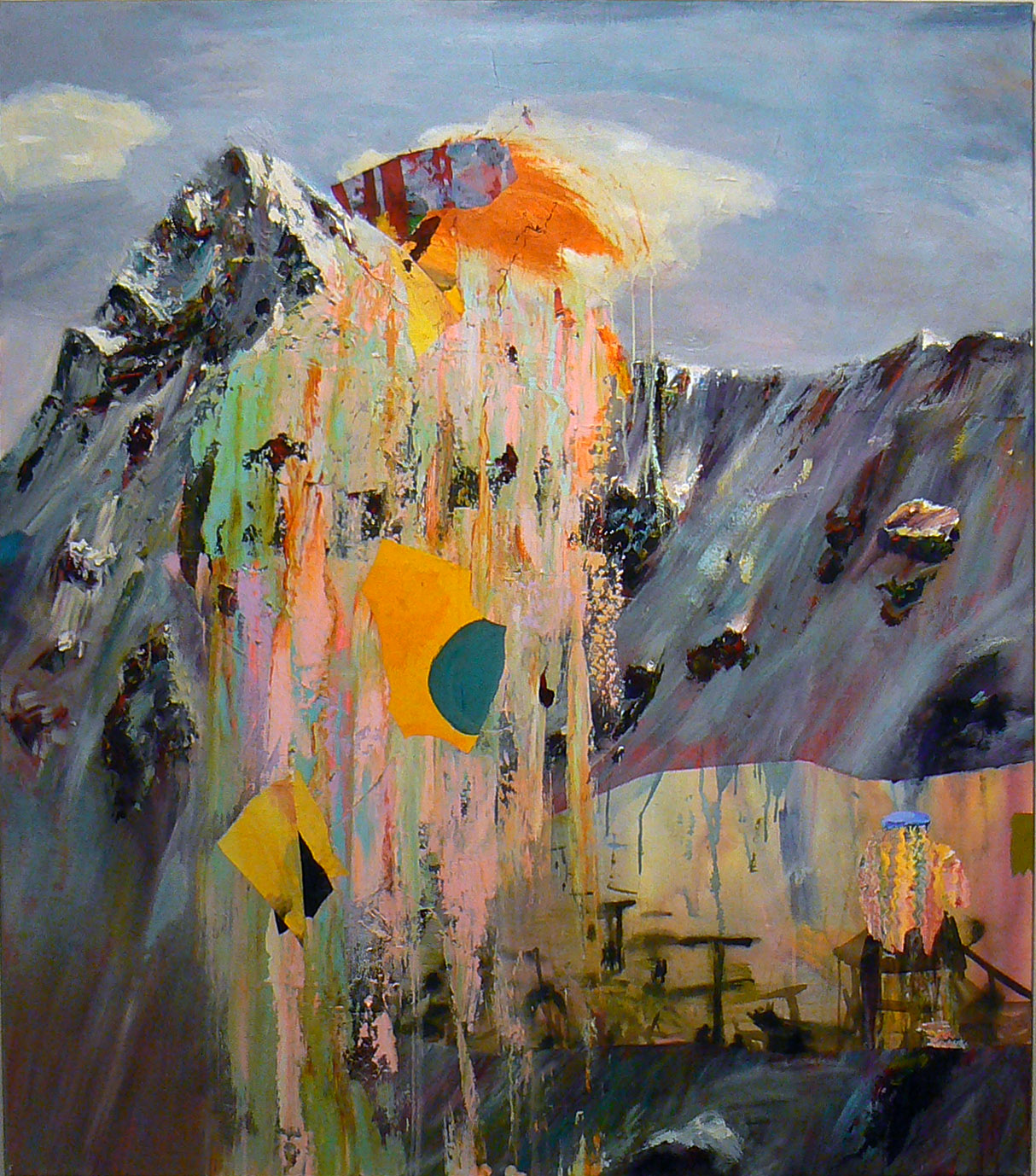 Judith Simonian,  Ski Lift , 2012-2013, Acrylic, collage on canvas, 66h x 58w in.