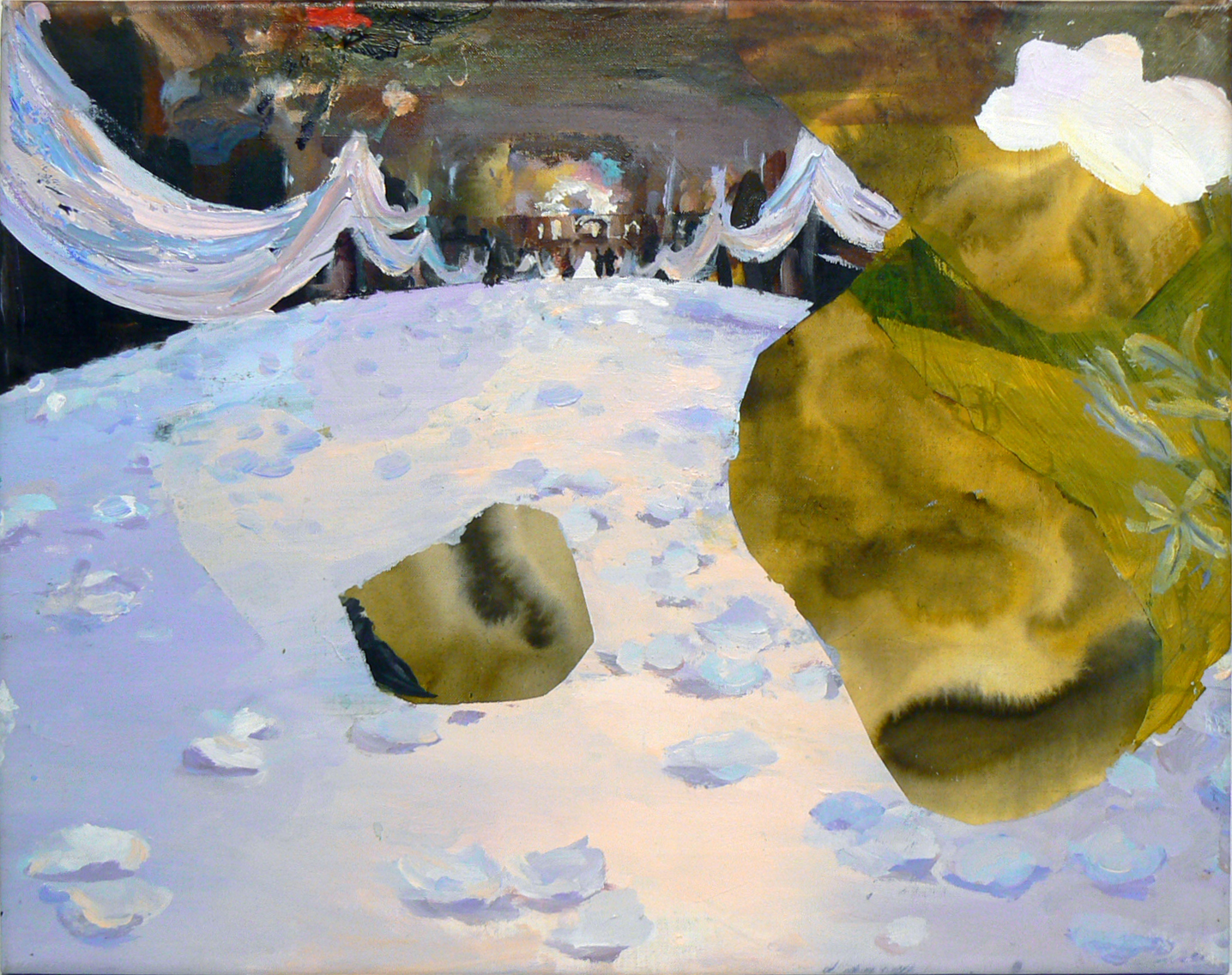 Judith Simonian,  Wedding Hall with Meteors , 2011, Acrylic on canvas, 16h x 20w in.