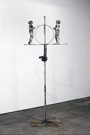 June Leaf, Two Women on a Jack, 2001, mixed media, 88h x 35w x 14d in.
