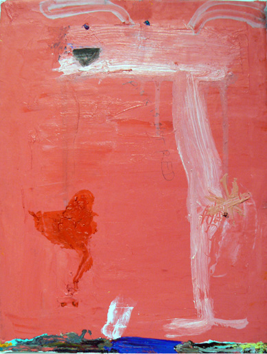 Matthew Blackwell, Pink is Not Red, 2006, oil and paper on canvas, 12h x 9w in.