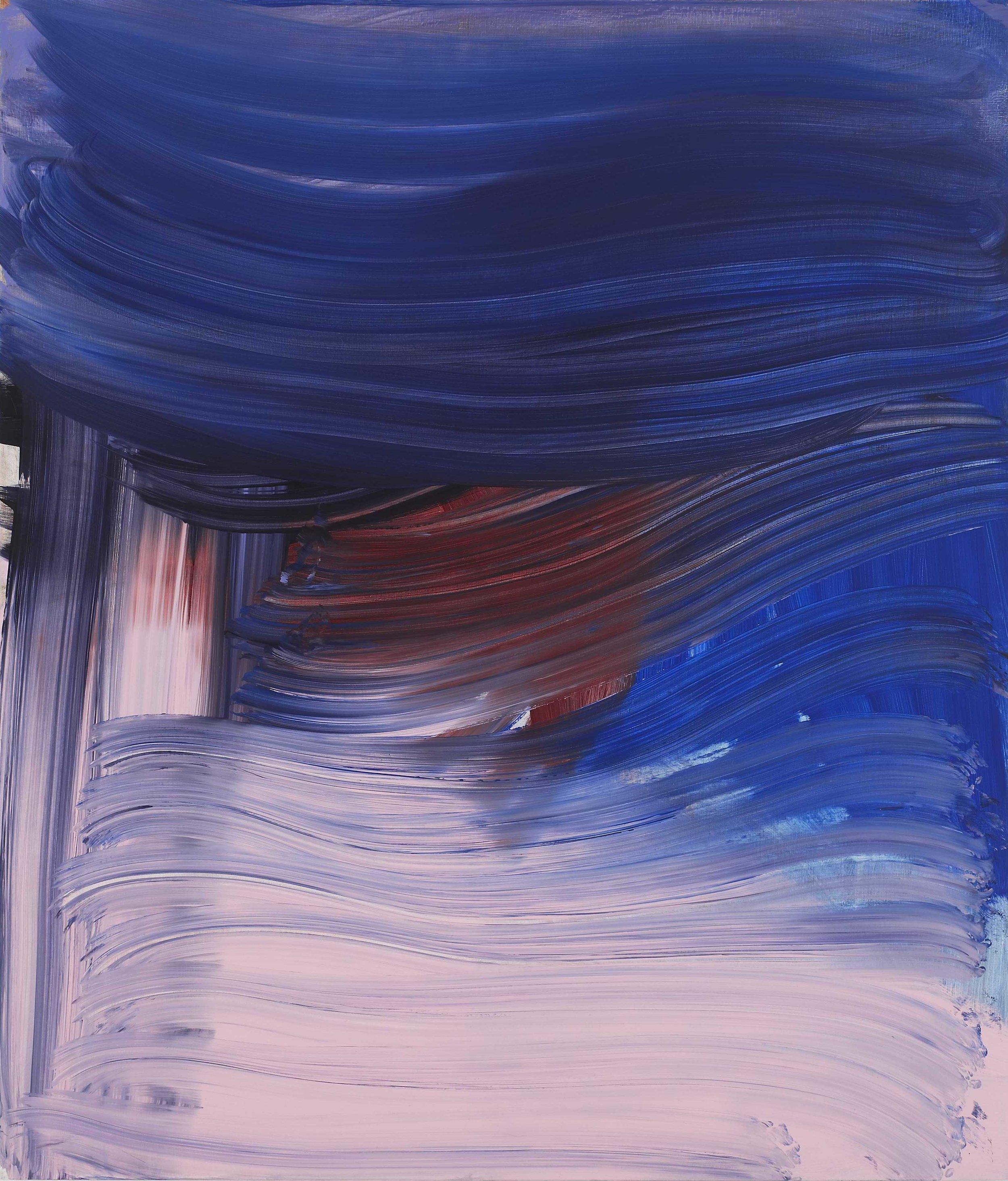 Andrea Belag, Big Blue, 2012, oil on linen, 56h x 48w in.