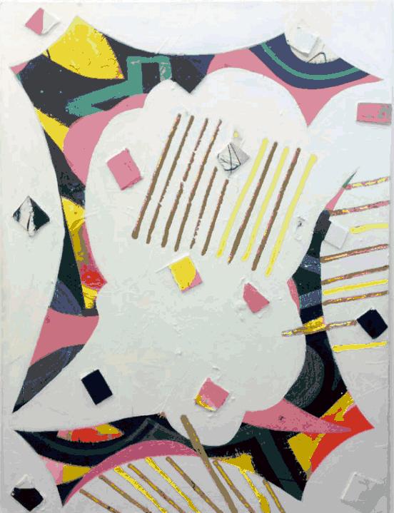 Patrick Brennan, Survivor Scam, 2013, acrylic, oil, foam core, silk, iridescent gel medium, on mylar, 48h x 36w in.