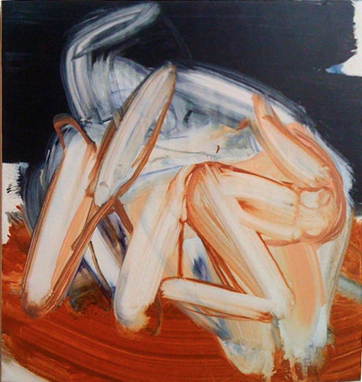 Allison Evans, Chaser, 2012, oil on panel, 14h x 13w in.