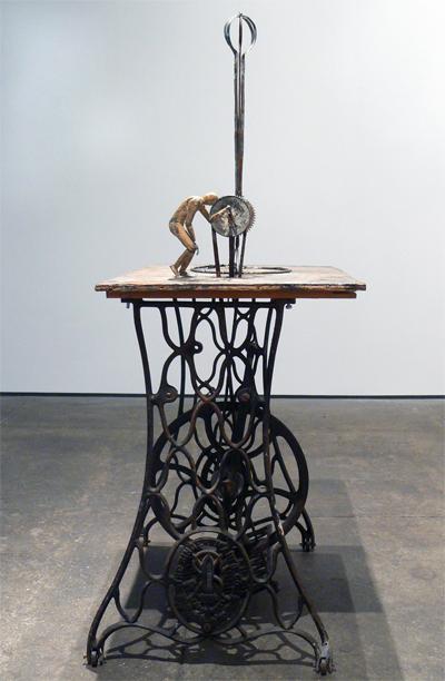 June Leaf, Untitled (Figure Cranking), 2010-2011, mixed media, 50h x 27w x 17.5d in.