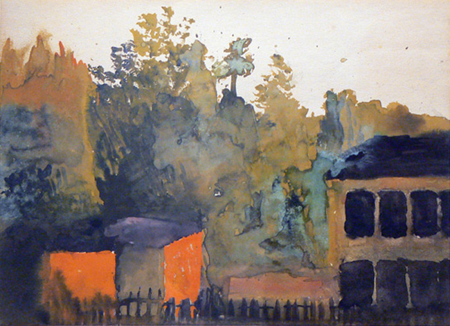 Charles W. Hutson, Glow from the Setting Sun, c. 1920-1925, watercolor on paper, 17.5h x 21w in. (framed)