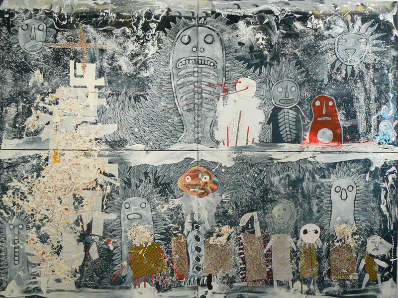 Neil Farber, Hearts Head, 2010-2011, mixed media on panels, 60h x 80w in.