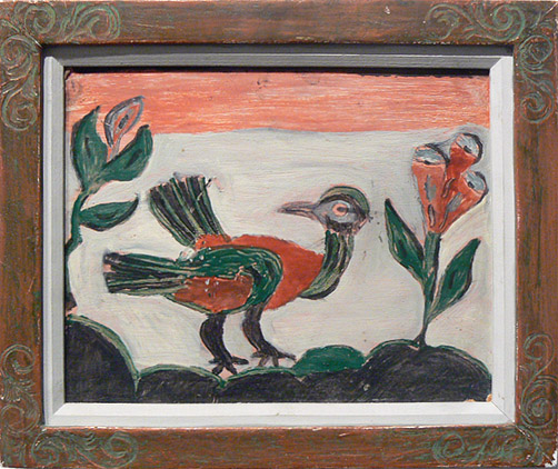 Wesner La Forest, early 1960s, Bird, mixed media on masonite, 7.75h x 9.75w in.