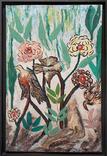 Odilon Pierre, prior to 1986, Birds and Flowers, mixed media on linen, 24h x 15.5w in.