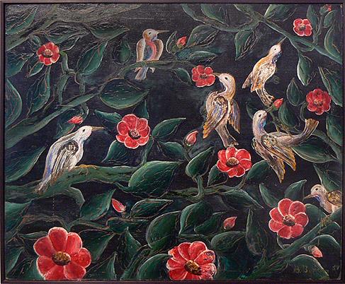 Bourmond Byron, 1957, Birds and Flowers, mixed media on masonite, 20h x 24w in.