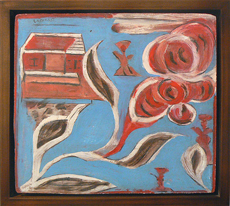 Wesner La Forest, early 1960s, Blue Background, Red House, Red Flowers, masonite board, 12h x 13.5w in.