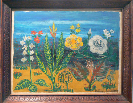 Peterson Laurent, 1957, Blue Sky Flowers #2, mixed media on masonite, 15.25h x 19.5w in.