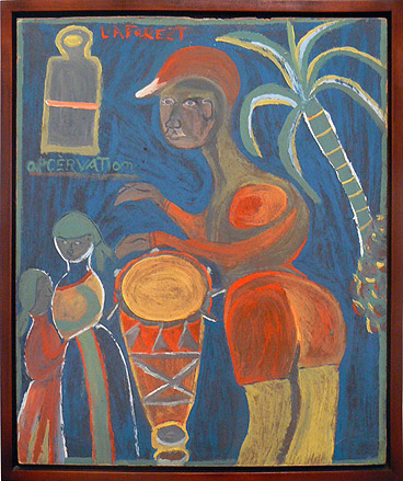 Wesner La Forest, early 1960s, Drummer and Drum, mixed media on masonite, 21.75h x 18.5w in.