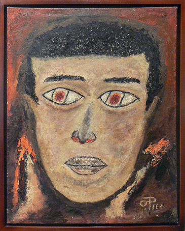 Odilon Pierre, prior to 1986, Face, mixed media on canvas, 20h x 16w in.