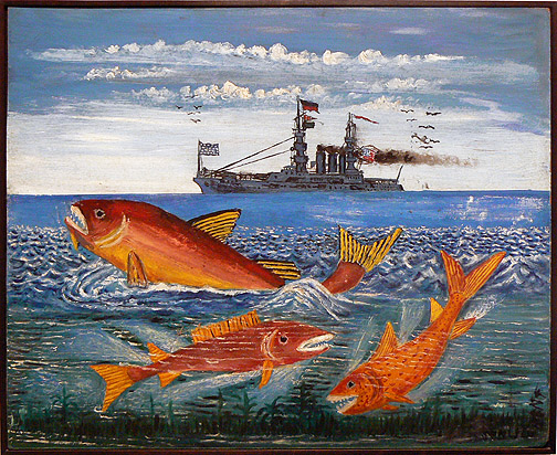 Peterson Laurent, c. 1950s, Three Fish with US Battleship, mixed media on masonite, 20h x 24w in.