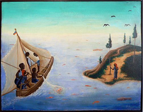 Bourmond Byron, 1965, Fisherman's Catch, mixed media on masonite, 23.75h x 30w in.