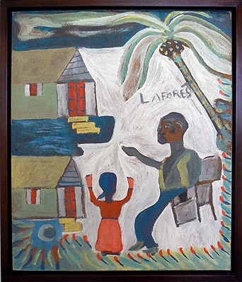 Wesner La Forest, early 1960s, Big with man and Woman Outside, mixed media on masonite, 21.5h x 18.5w in.