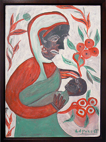 Wesner La Forest, early 1960s, Mother and Child and Flowers, mixed media on masonite, 22.75h x 16.25w in.