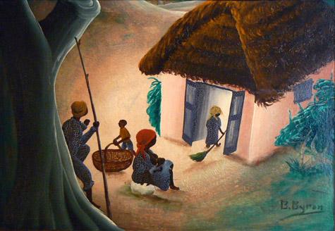 Bourmond Byron, c. 1960, Mystical Family Scene, mixed media on masonite, 17.25h x 24w in.