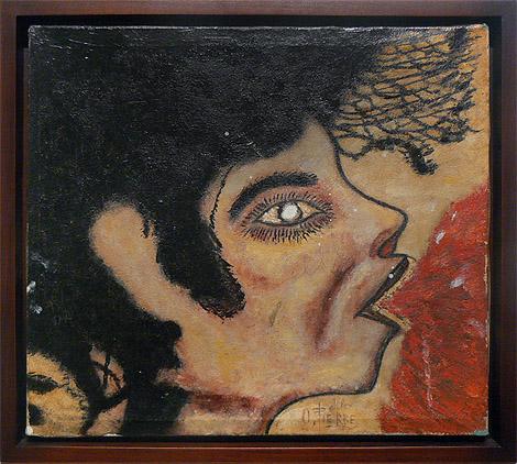 Odilon Pierre, prior to 1986, Profile, mixed media on canvas, 13.75h x 15.75w in.