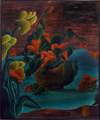 Bourmond Byron, 1961, Red Flower in Vase, mixed media on masonite, 24h x 20w in.