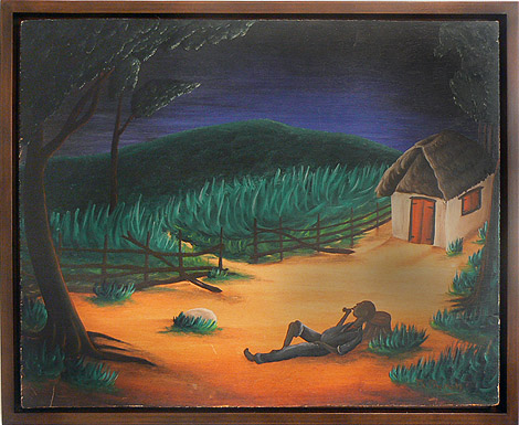 Bourmond Byron, c. 1960, Man Resting with Pipe, mixed media on wood panel, 19.25h x 23.75w in.