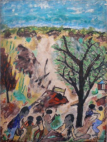 Odilon Pierre, c. 1985-1990, The Accident, mixed media on linen, 24h x 18w in.