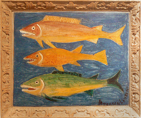 Peterson Laurent,c. 1950s, Three Fish on Green, mixed media on masonite, 18.75h x 22.75w in.