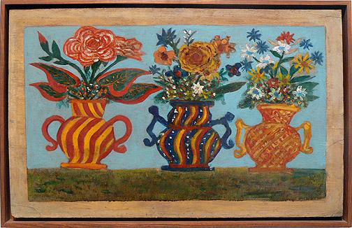 Peterson Laurent, c. 1950s, Three Vases, mxed media on masonite, 14.5h x 22.75w in.