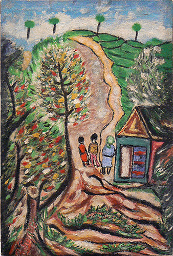 Odilon Pierre, prior to 1986, Three People in the Countryside, mixed media on canvas, 14.5h x 10w in.