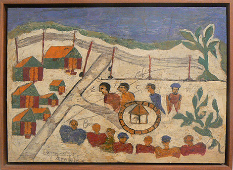Wesner La Forest, early 1960s, Village Scene, mixed media on wood panel, 10.25h x 14.5w in.