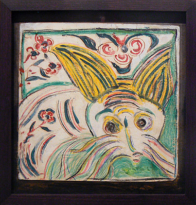 Wesner La Forest, early 1960s, Whiskered Animal, mixed media on paper, 8.5h x 8.75w in.