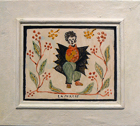 Wesner La Forest, early 1960s, Winged Figure, mixed media on masonite, 9h x 11w in.