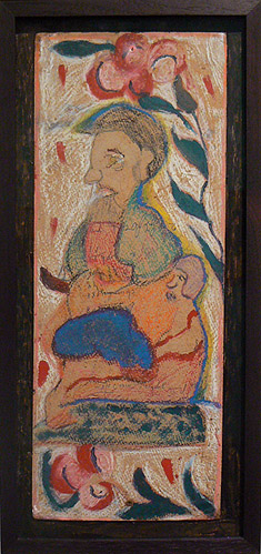 Wesner La Forest, early 1960s, Stacked Mother and Child, mixed media on cardboard, 17h x 6.75w in.