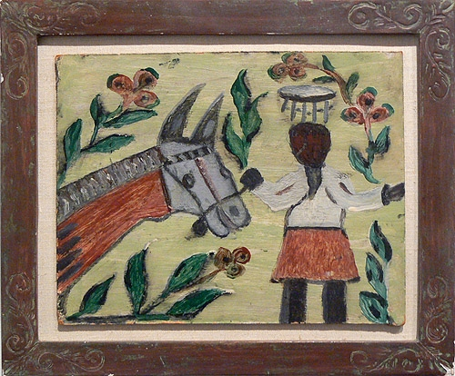 Wesner La Forest, early 1960s, Woman and Horse, mixed media on masonite, 8h x 10w in.